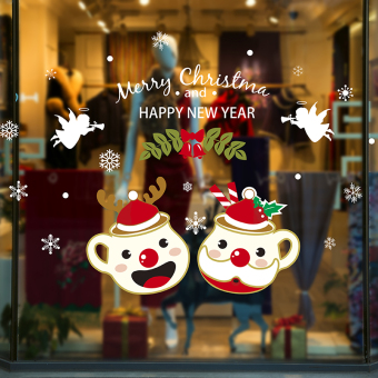 Christmas cup holiday atmosphere dress up window stickers adhesive paper