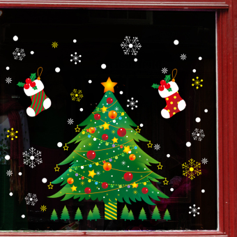 Christmas curtain dormitory Christmas tree
