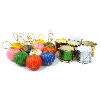 Christmas Decor Drums and Balls Christmas Tree Hang 2 SETS EACH(Multicolor) - 2