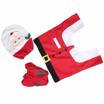 Christmas Decorations Happy Santa Toilet Seat Cover and Rug Set and Tissue Box Cover - intl - 5
