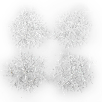 Christmas Decorations Supplies White Snow Snowflakes Hanging Ornaments 6cm Set of 60