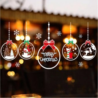 Christmas electrostatic paste glass paste Christmas electrostatic film stickers green window stickers Christmas decorations ball stickers - intl