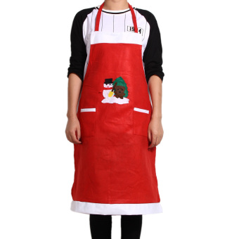 Christmas Kitchen Bar Creative Red Christmas Applique Aprons 03 Style (Intl)