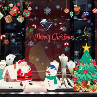 Christmas mall shop window glass stickers