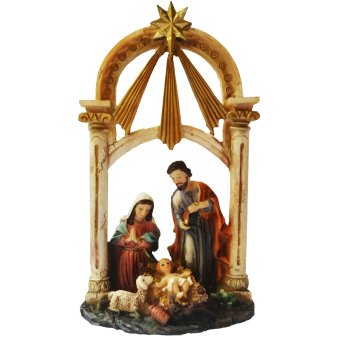 Christmas Nativity Scene Pillars with Candle Holder Table Top(Jesus Christ, Virgin Mary, Saint Joseph) Religious Item (Made ofFiberglass Resin) by Everything About Santa (Christmas decorationand gift suggestion)