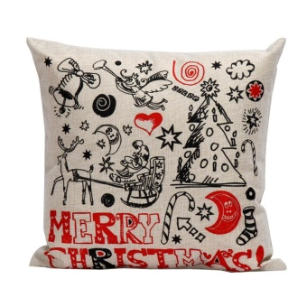 Christmas Pillow Case Sofa Waist Throw Cushion Cover Home Decor A - intl - picture 2