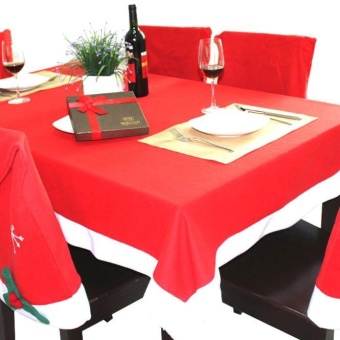 Christmas Red Rectangle Tablecloth Back Table Cover Home Dinner Decor - intl