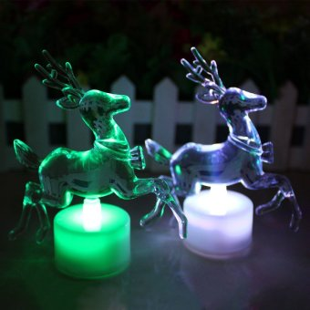 Christmas Reindeer LED Lamp Colorful Acrylic Double Flash Night Light Price Philippines