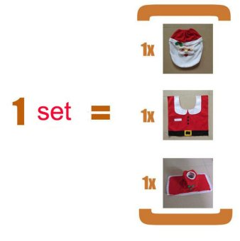 Christmas Santa Claus Bathroom toilet seats cover mat -Toilet cover+contour rug + tank cover, thermal potty 3 piece set - 2