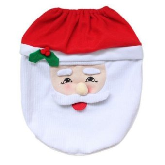 Christmas Santa Claus Bathroom toilet seats cover mat -Toilet cover+contour rug + tank cover, thermal potty 3 piece set - 4
