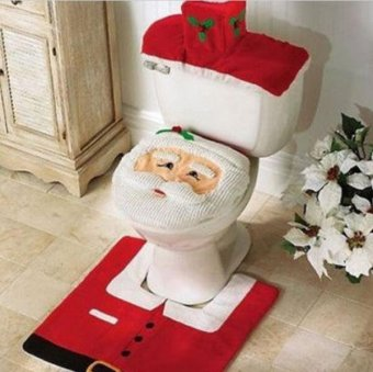 Christmas Santa Claus Bathroom toilet seats cover mat -Toilet cover+contour rug + tank cover, thermal potty 3 piece set