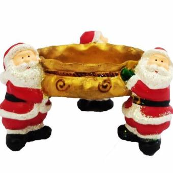 Christmas Santa Claus Functional Candy Bowl Ashtray (Gold) Figurine for the Holiday (Made of Fiberglass Resin) by Everything About Santa (Christmas decoration and gift suggestion)