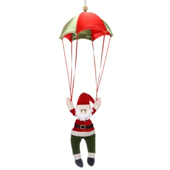 Christmas Santa Claus Snowman Parachute Hanging Decoration(Watermelon Red) - intl Price Philippines