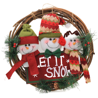 Christmas Snowman Pine Cane Rattan Ring Decor