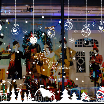 Christmas Store Shop Window Santa Clause Snowhouse Wall Sticker