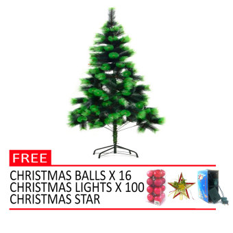 Christmas Tree Xmas Tree 6ft. with FREE Christmas Light 100L 16 xChristmas Balls 1 x Christmas Star Top (Green)
