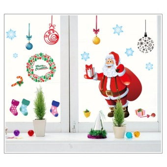 Christmas window decoration wall paper - PVC transparent removablewall paper 60 * 90cm - intl
