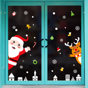 Christmas window shop restaurant glass stickers