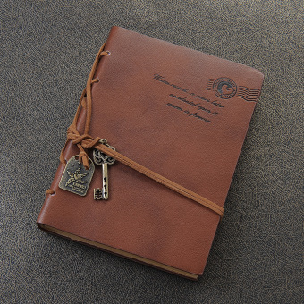 Classic Retro Vintage Leather Bound Blank Pages Notebook Journal Diary Orange