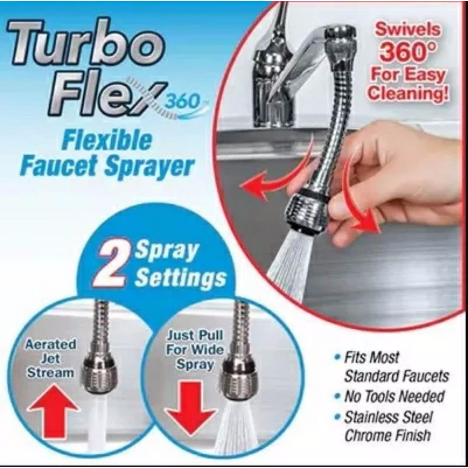 ☆COD TV 6Turbo Flex 360°Flexible Faucet Sprayer Swivels 360° For ...