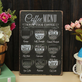 Coffee Menu Vintage Tin Sign Bar Pub Shop Home Wall Decor Retro Metal Art Poster (Coffee Menu) - intl