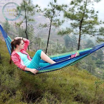 Colorful Canvas Hammock Hanging Sleeping Bed Blue