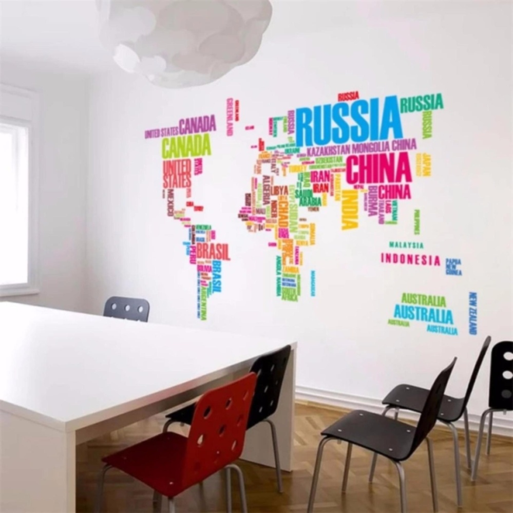 Philippines colorful english letter world map wall sticker colorful english letter world map wall sticker removable pvc vinyl decal art mural home decorative picture gumiabroncs Gallery