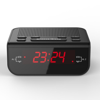 Compact Digital Alarm Clock FM Radio with Dual Alarm Buzzer Snooze Sleep Function Red LED Time Display - Intl