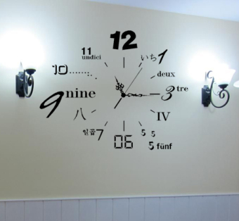 Cool living room bedroom library decorative wall stickers with numbers clock