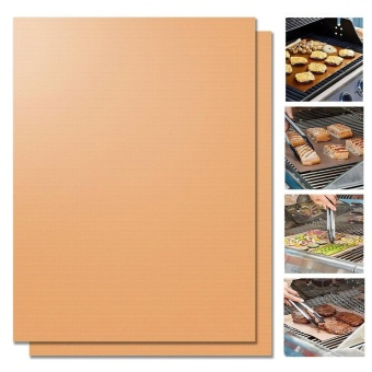 Copper Grill Mat Set of 2 Non-stick BBQ Grill & Baking MatsGolden Grill Mats & Bake Mats Reusable & Easy to Clean -grill mat serve kitchen & Outdoor - intl