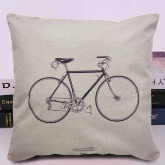 Cotton Linen Canvas Decorative Throw Pillow Case Cushion Cover16x16 inches Bicycle (Multicolor)