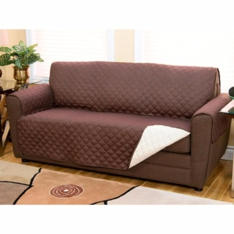 Couch Coat Recliner Cover Long Set of 3 (Brown) - 4