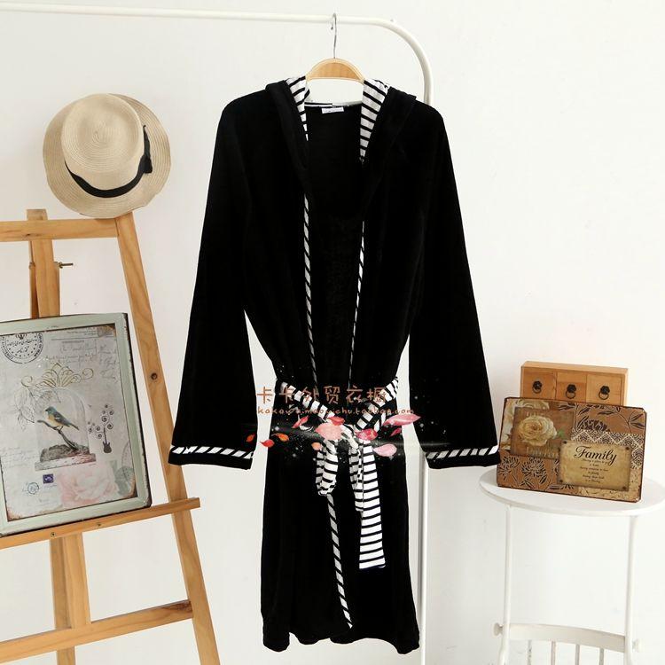 Couple's cotton black new spring and autumn bathrobe