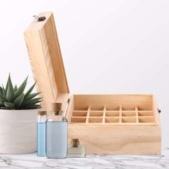Creative 25 Slot Wooden Essential Oil Box, Holds 25 5-15 ml Roller Bottles Wooden Storage Case for Travel or Gift - intl