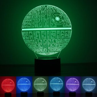 Creative 3D Death Star Shape 7-Color LED Night Light Touch SwitchUSB Table Desk Lamp Decor - intl