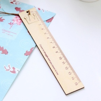 Creative Stationery Wooden Crown Pattern Office School StudentMeasuring Tools Stationery Ruler - intl