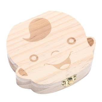 Creative Wooden Baby Tooth Organizer Box for Deciduous TeethUmbilical Cord Lanugo (ENGLISH BOY) - intl