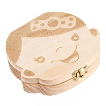 Creative Wooden Baby Tooth Organizer Box for Deciduous TeethUmbilical Cord Lanugo (ENGLISH GIRL) - intl