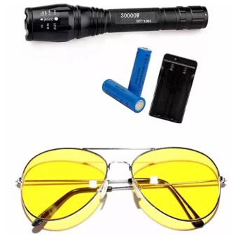 Cree SKY-1064 30000W Ultrafire 6000 Lumens 5Modes CREE XML T6 LEDFlashlight 18650+Charger WITH Night View Glasses (Yellow)