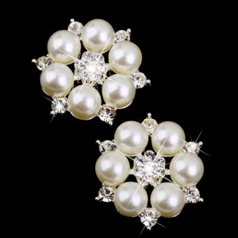Crystal Faux Pearl Flower Button Decoration DIY 28mm 10pcs Beige - picture 2