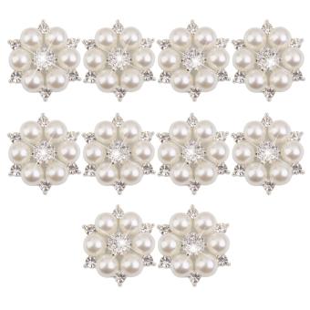Crystal Faux Pearl Flower Button Decoration DIY 28mm 10pcs Beige