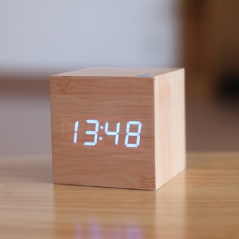 Cube wooden LED Alarm Clock,despertador Temperature Sounds ControlLED display,electronic desktop Digital table clocks Price Philippines