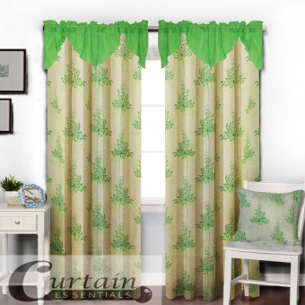 Curtain Essentials Grass Flower (Yellow Green) Single Panel