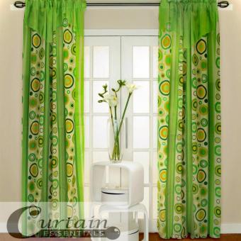 Curtain Essentials Pete Yellow Green Single Panel