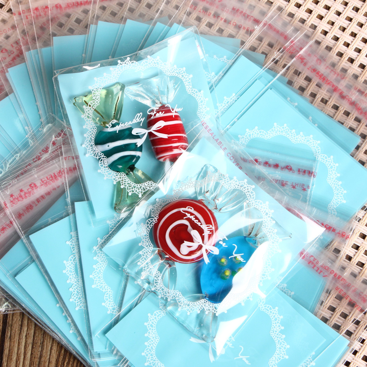 ... Cute 100Pcs Cookies Candy Self Adhesive Package Party Christmas Gift Bags7x7cm intl