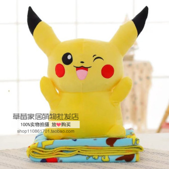 Cute blanket pillow and blanket Pikachu doll