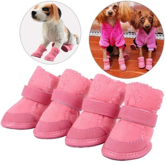 Cute Chihuahua Dog Shoes Puppy Warm Boots Shoes color:Pink size:S -intl - 2