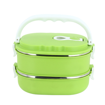 Cute double layer seperated lunch boxes insulated container