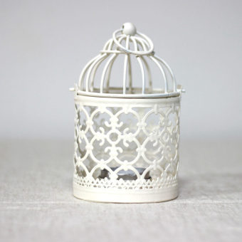 Cute porous iron small bird cage candle holder