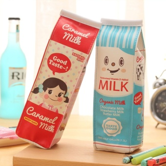Cute PU Pencil Case Creative Milk Pencil Bag For Kids Gift NoveltyItem School Supplies Stationery - intl